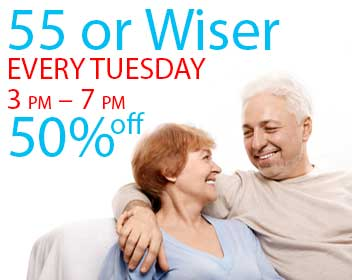 55 or wiser every Tuesday 3 pm - 7 pm 50% off your meal