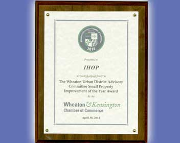 Wheaton Urban District Award for Small Property Improvement of the Year April 30, 2014.