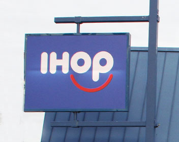 Sign outside iHop Wheaton